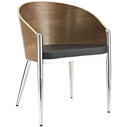 "Modway EEI-604 Cooper 17"" Dining Chair with Vinyl Seat, Lacquered Steel Frame, Lacquered Walnut Wood Back, and Base"