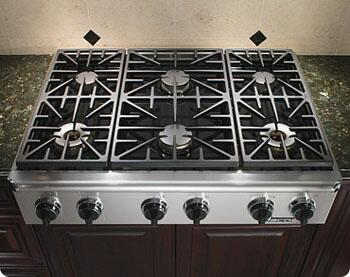 Dacor EG366SCHNGH Discovery Series Natural Gas Sealed Burner Style Cooktop, in Stainless Steel
