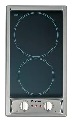"Verona VEECTXFSS 12"" Smoothtop Electric Cooktop With 2 Radiant Elements, Ceran Cooktop, Hot Surface Indicator Light, Stainless Steel Frame, X Volts, In Stainless Steel"