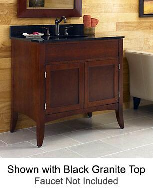 """Kaco Metro Collection 385-3600 36"""" Sink Vanity with Flared Legs, 2 Doors, Brushed Nickel Hardware and Water Resistant Brown Cherry Finish with Granite Top"""