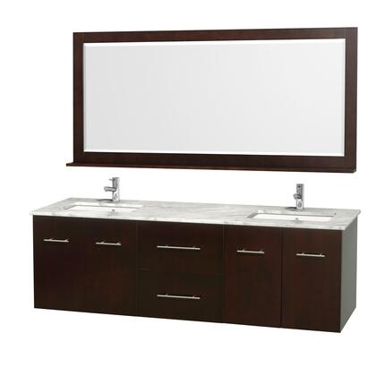 """Wyndham Collection WCVW00972D 72"""" Double Wall Mount Vanity with Square Undermount White Porcelain Sink, 2 Drawers, 4 Doors, and Includes Matching Mirror in"""