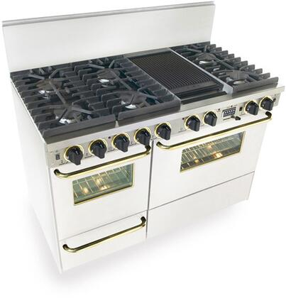 "FiveStar WTN5377SW 48""  White with Brass Dual Fuel Freestanding Range with Sealed Burner Cooktop, 3.69 cu. ft. Primary Oven Capacity, Broiler"