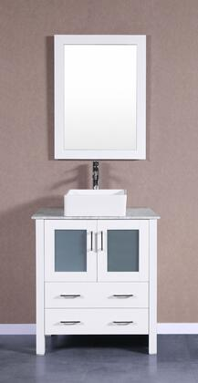 Bosconi Bosconi AW130CBECMX Single Vanity with Soft Closing Doors , Drawers,Marble Top, Faucet, Mirror in White and White Vessel Square Ceramic Sink
