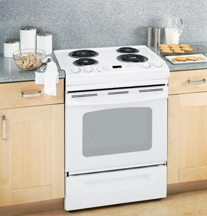 GE JSS28DNWW  Slide-in Electric Range with Coil Cooktop Storage 4.4 cu. ft. Primary Oven Capacity
