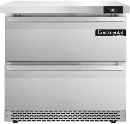 "Continental Refrigerator SW32F 32"" Worktop Refrigerator with Front Breathing Compressor, Stainless Steel Front, Aluminum Interior, Interior Hanging Thermometer, and Environmentally-Safe Refrigerant, in Stainless Steel"