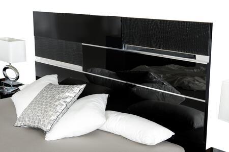 VIG Furniture VGACANCONASETBLK Modrest Ancona Italian Bedroom Set includes Bed, 2 Nightstands, Dresser, Mirror and Polished Metal Legs in Black Color