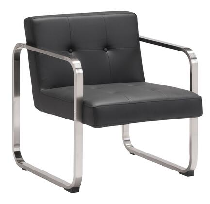 "Zuo 9006 Varietal 27"" Living Room Arm Chair with Brushed Stainless Steel Frame, Button Tifting, and Leatherette Upholdtery"