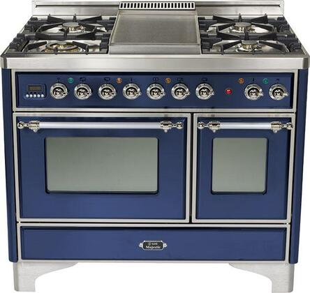 Ilve UMD1006MPBLX  Dual Fuel Freestanding Range with Sealed Burner Cooktop, 2.44 cu. ft. Primary Oven Capacity, Warming in Blue