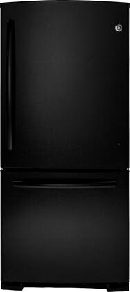 GE GDE20ETEBB  Bottom Freezer Refrigerator with 20.2 cu. ft. Capacity in Black