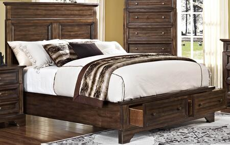 New Classic Home Furnishings 00-186-B Grandview Storage Bed with Footboard Storage, Detailed Molding, Simple Design and Tapered Legs, in Brown