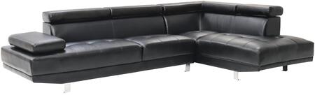 "Glory Furniture Milan Collection 109"" Sectional Sofa with Tufted Seat Design, Chrome Metal Legs, Ajustable Armrest/Headrest and Faux Leather Upholstery in"