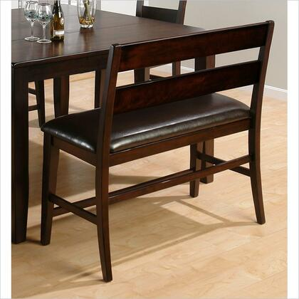 Jofran 972BS20KD Prairie Series Accent Armless Wood Faux Leather Bench