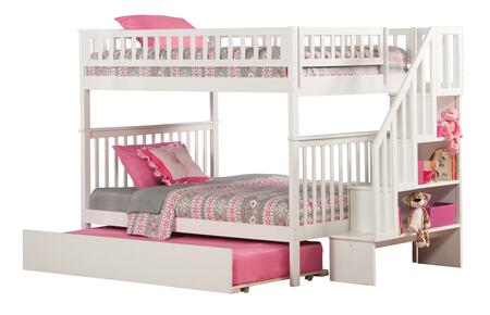 Atlantic Furniture AB5685 Woodland Staircase Bunk Bed Full Over Full With Urban Trundle Bed