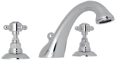 Rohl A1454XC Italian Country Bath Collection Viaggio Deck Mounted C-Spout Tub Filler with up to 17 GPM Water Flow and Swarovski Crystal Cross Handles in