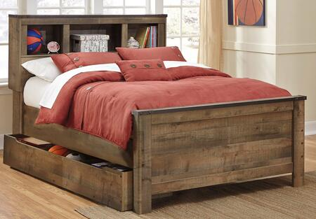 Milo Italia Becker BR-549BOOKT Bookcase Bed with Trundle Storage, 3 Open Shelf Compartments and Replicated Oak Grain in Brown