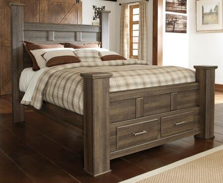 Signature Design by Ashley B251POSTERFB Juararo Collection X Size Poster Bed with Footboard Storage in Brown
