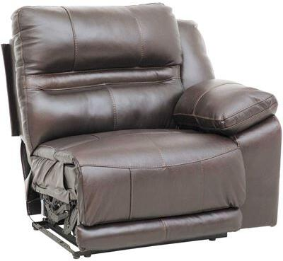 "Catnapper Bergamo Collection 43"" Power Lay Flat Recliner with Extended Ottoman, Top Grain Italian Leather/Match Upholstery in Chocolate Color"