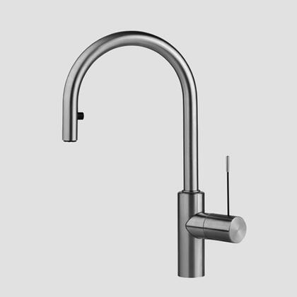 Picture of 10.151.102.700 Single-hole single lever kitchen mixer with swivel spout and pull-down aerator in Solid Stainless Steel/Black Steel