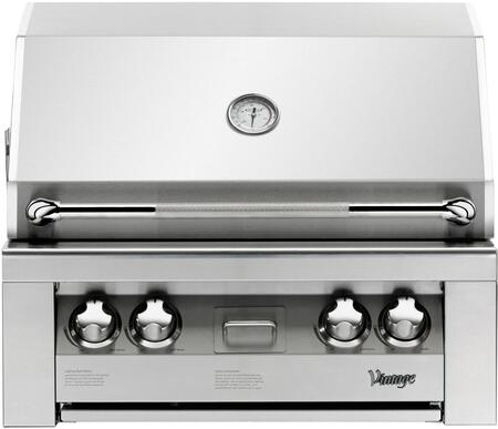 """Vintage Luxury Series VBQ-30G 30"""" Built-In X Grill, 542 Sq. Inches Main Grilling Area, Smoker Burner And Rotisserie Burner, 9V Precision Fire Electronic Ignition: Stainless Steel"""
