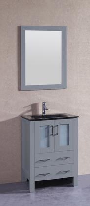 "Bosconi AGR124BGUX XX"" Single Vanity with Black Tempered Glass Top, Integrated Sink, F-S01 Faucet, Mirror, 2 Doors and X Drawers in Grey"