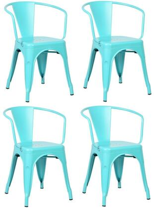 "EdgeMod Trattoria Collection 28.5"" Set of 4 Arm Chairs with Non-Marking Feet Caps, Stackable, Electroplated Metal and Powder Coated Iron in"