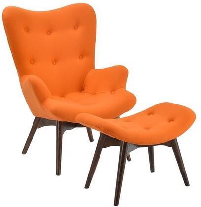 EdgeMod EM136ORA Auzzie Series Armchair Fabric Wood Frame Accent Chair