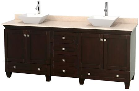 "Wyndham Collection Acclaim 80"" Double Bathroom Vanity with 4 Doors, 6 Drawers, 3"" Backsplash, Brushed Chrome Hardware, Ivory Marble Top and Pyra White Porcelain Sinks in"