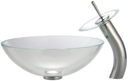 Kraus CGV10012MM10X Singletone Series Round Vessel Sink with 12-mm Tempered Glass Construction, Easy-to-Clean Polished Surface, and Included Waterfall Faucet, Crystal Clear Glass