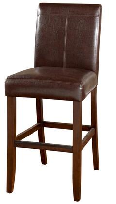"""American Heritage Carla Series 1XX101 Transitional Stool with 3"""" Cushion, Solid Wood Frame, and Floor Glides Finished in Brown with Brown Vinyl Upholstery (Set of 2 Stools)"""