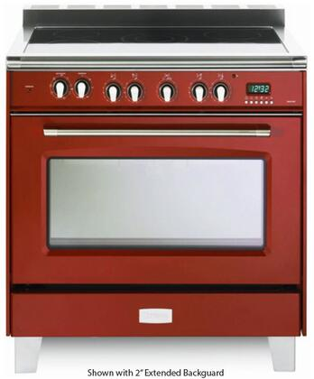 """Verona VCLFSEE365 36"""" Verona Classic Series Electric Range Oven with 5 Elements, Black Ceramic Top, 4 cu. ft. Convection Oven Capacity, Plinth Legs, Glide Oven Rack, Digital Clock and Timer:"""
