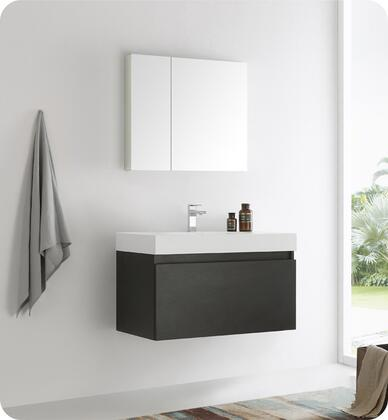 """Fresca Mezzo Collection FVN8008 36"""" Wall Hung Modern Bathroom Vanity with Medicine Cabinet, Blum TANDEM Plus BLUMOTION Drawer System and Integrated Acrylic Countertop & Sink in"""