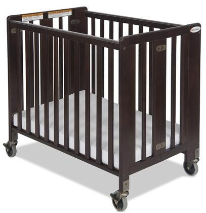 """Foundations HideAway Series 1031XXX Compact Sized Easy Roll Slatted Fixed-Side Folding Crib with 4"""" Casters"""
