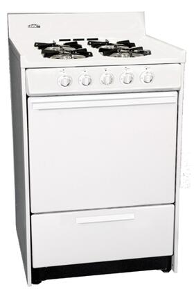 "Summit WNM6107F 24"" Gas Freestanding Range with Sealed Burner Cooktop, 2.9 cu. ft. Primary Oven Capacity, Broiler in White"