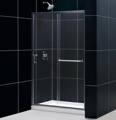 DreamLine DL-611 Infinity-Z Frameless Sliding Shower Door with Single Threshold Shower Base and QWALL-5 Shower Backwalls Kit