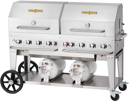 "Crown Verity CVCCB60 60"" Club Series Liquid Propane Grill with 129000 BTU Capacity, Roll Dome, Adjustable Bun Rack with Two 14"" Wheels and Two Total Lock Casters in Stainless Steel"