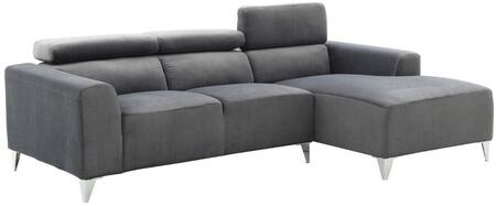 """Glory Furniture 92"""" Sectional Sofa with Adjustable Headrests, Tapered Chrome Legs, Removable Track Arms and Velvet Micro Suede Upholstery in"""