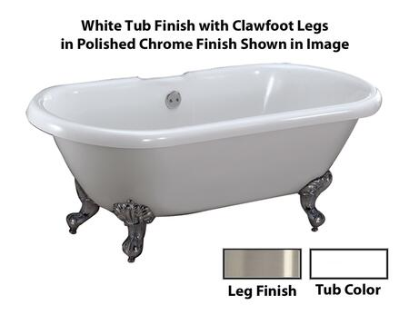 """Barclay ATDR69I Claudia 69"""" Acrylic Double Roll Top Clawfoot Tub, with White Tub Finish, No Overflow, Imperial Clawfoot Design, , with Clawfoot Finish in"""