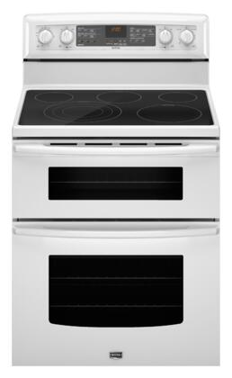 Maytag MET8885XW Gemini Series Electric Freestanding Range with Smoothtop Cooktop, 4.2 cu. ft. Primary Oven Capacity, Oven in White