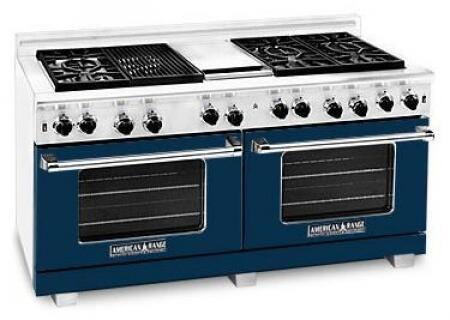 "American Range ARR6062GRLDB 60"" Heritage Classic Series Gas Freestanding Range with Sealed Burner Cooktop, 4.8 cu. ft. Primary Oven Capacity, in Dark Blue"