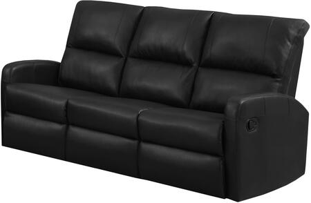 """Monarch I84YYY 72"""" Reclining Sofa with Lumbar Support, Comfortably Padded and Bonded Leather in Black"""
