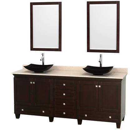"""Wyndham Collection Acclaim 80"""" Double Bathroom Vanity with 4 Doors, 6 Drawers, 2 Mirrors, Brushed Chrome Hardware, Ivory Marble Top and Arista Black Granite Sinks in"""