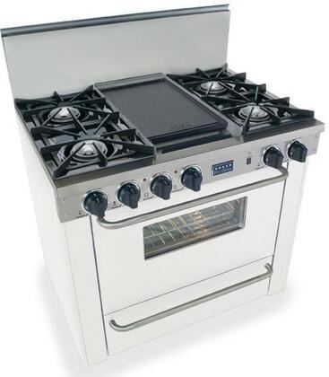 """FiveStar WPN3107W 36""""  White Gas Freestanding Range with Open Burner Cooktop, 3.69 cu. ft. Primary Oven Capacity, Broiler"""