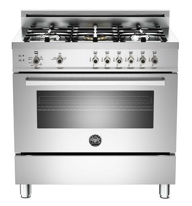 "Bertazzoni Professional PRO365GAST 36"" Gas Range With 5 Brass Burners, 18,000 BTUs Power Burner, Designer Metal Knobs, 4.4 cu. ft. Gas Convection Oven, 1.5 cu. ft. Storage Compartment in Stainless Ste"