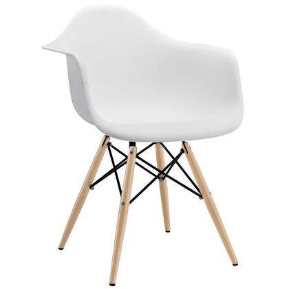 Modway EEI182WHI Pyramid Series Modern Not Upholstered Wood Frame Dining Room Chair