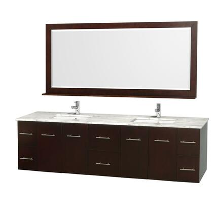 "Wyndham Collection WCVW00980D 80"" Double Wall Mount Vanity with Square Undermount White Porcelain Sink, 6 Drawers, 4 Doors, and Includes Matching Mirror in"