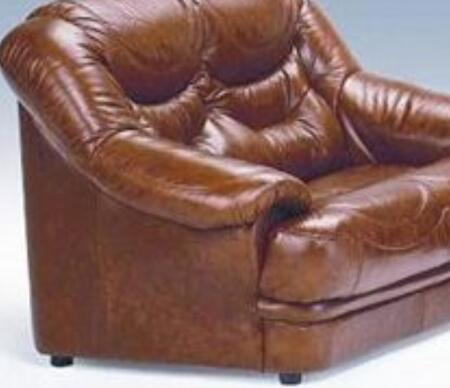 VIG Furniture VGDIMALAGACHAIR Malaga Series Leather Stationary with Wood Frame in Brown