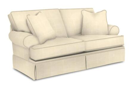 """Broyhill Emily 62621COLOR 67"""" Wide Loveseat with 2 Decorative Pillows, Rolled Arms and Pleated Skirt Bottom in"""