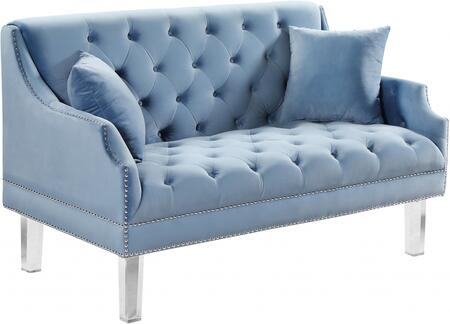 Meridian 635skyblul Roxy Series Velvet Stationary Loveseat
