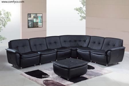 Global Furniture USA 3618ABL5pcLCornCen2R  Leather Sofa