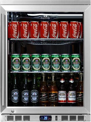 KingsBottle KBU- Glass Door Undercounter Beverage Cooler with x Can Capacity, Chrome Shelves, Heated LOW E-Glass, Lock and Stainless Steel Interior and Exterior